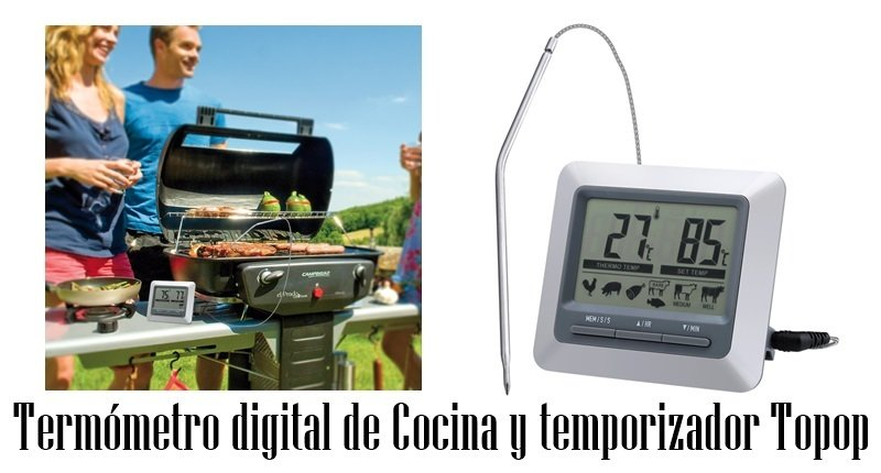 Termómetro digital de Cocina y temporizador Topop